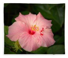 Pink Hibiscus Fleece Blanket