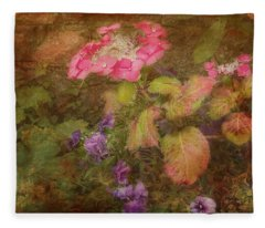 Pink Hydrangea And Purple Pansies Fleece Blanket