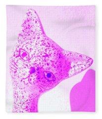 Mid Century Modern 1960s Pink Kitty Cat Fleece Blanket