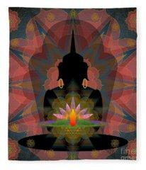 Pink Lotus Buddha Fleece Blanket