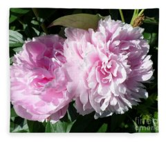 Pink Peonies 3 Fleece Blanket
