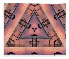Pink Pier Kaleidoscope Two  Fleece Blanket