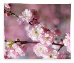 Pink Plum Branch 1 Fleece Blanket
