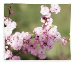 Pink Plum Branch On Green 2 Fleece Blanket