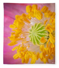 Pink Poppy Too Squared Fleece Blanket