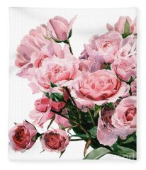 Pink Rose Bouquet Fleece Blanket