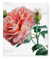 Pink Rose Odette  Fleece Blanket