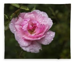 Pink Rose With Raindrops Fleece Blanket