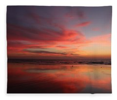 Ocean Sunset Reflected  Fleece Blanket