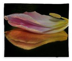 Pink Tulip Petal Reflected On Black Fleece Blanket