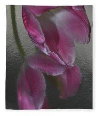 Pink Tulip Reflection In Silver Water Fleece Blanket