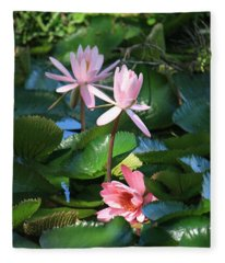 Pink Water Lillies Fleece Blanket