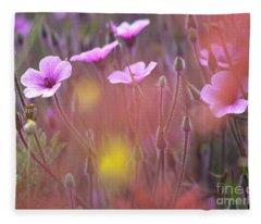 Pink Wild Geranium Fleece Blanket