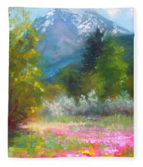 Pioneer Peaking - Flowers And Mountain In Alaska Fleece Blanket