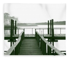 Pirate's Cove Pier In Monochrome Fleece Blanket