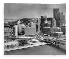 Pittsburgh Black And White Winter Panorama Fleece Blanket