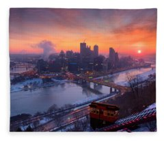 Pittsburgh Skyline Winter 2 Fleece Blanket