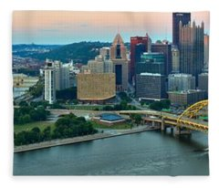Pittsburgh Panorama At Dusk Fleece Blanket