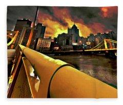 Pittsburgh Skyline Fleece Blanket