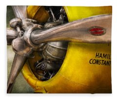 Plane - Pilot - Prop - Twin Wasp Fleece Blanket