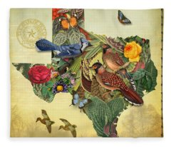 Nature Map Of Texas Fleece Blanket