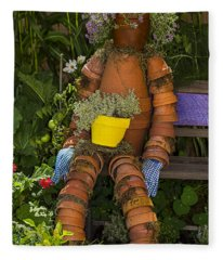 Planter Pot Man Fleece Blanket