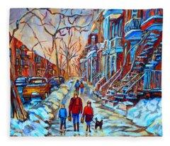 Plateau Montreal Street Scene Fleece Blanket