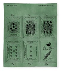 Playing Cards Patent Green Fleece Blanket