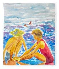 Playing On The Beach Fleece Blanket