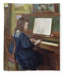 Playing The Piano Fleece Blanket