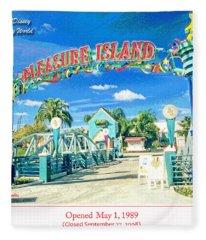 Pleasure Island Sign And Walkway Downtown Disney Fleece Blanket