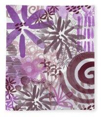 Plum And Grey Garden- Abstract Flower Painting Fleece Blanket