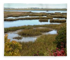 Plum Island Marshes In Autumn 2 Fleece Blanket