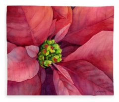 Plum Poinsettia Fleece Blanket