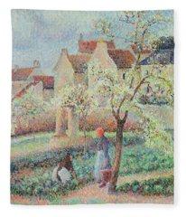 Plum Trees In Flower Fleece Blanket