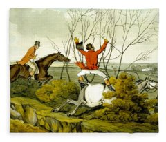Plunging Through The Hedge From Qualified Horses And Unqualified Riders Fleece Blanket