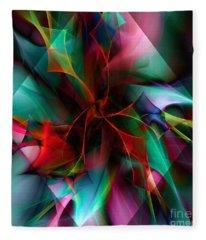Poinsettia Warm Diamond  Fleece Blanket