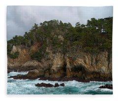 Point Lobos Coastal View Fleece Blanket