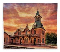 Point Of Rocks Train Station  Fleece Blanket