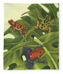 Green Tree Frogs Paintings Fleece Blankets