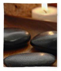 Polished Stones In A Spa Fleece Blanket