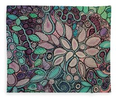 Polka Dot Flowers Fleece Blanket