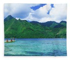 Polynesian People Rowing A Yellow Fleece Blanket