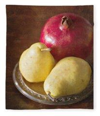 Pomegranate And Yellow Pear Still Life Fleece Blanket