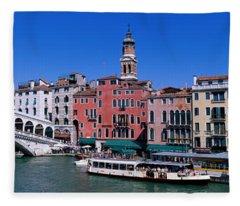Ponte Di Rialto Venice Italy Fleece Blanket