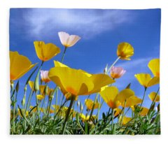 Poppies And Blue Arizona Sky Fleece Blanket