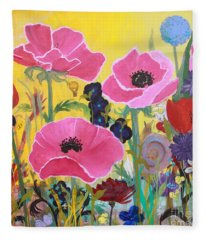 Poppies And Time Traveler Fleece Blanket