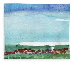 Poppy Field- Landscape Painting Fleece Blanket