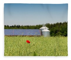 Poppy Flower In A Field And Barn Fleece Blanket