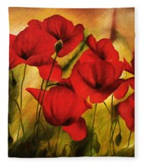 Poppy Flowers At Dusk Fleece Blanket
